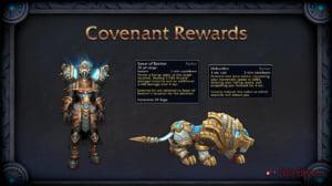 Exemplo de recompensas ao criar um Pacto com os Kyrian: Armadura (Placas), habilidade e montaria exclusiva.